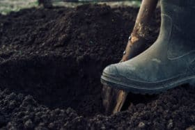 dirt man digging soil treatment products